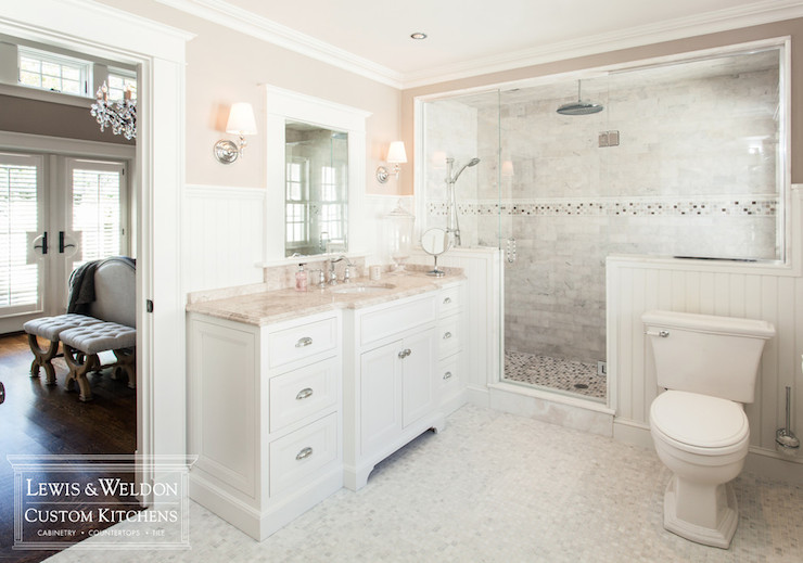 Pink Marble  Transitional  bathroom  Lewis and Weldon