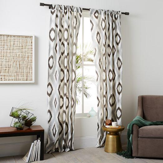 Cotton Canvas Grey and Brown Ikat Diamond Curtain