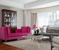Pink and Gray Living Room - Transitional - living room ...