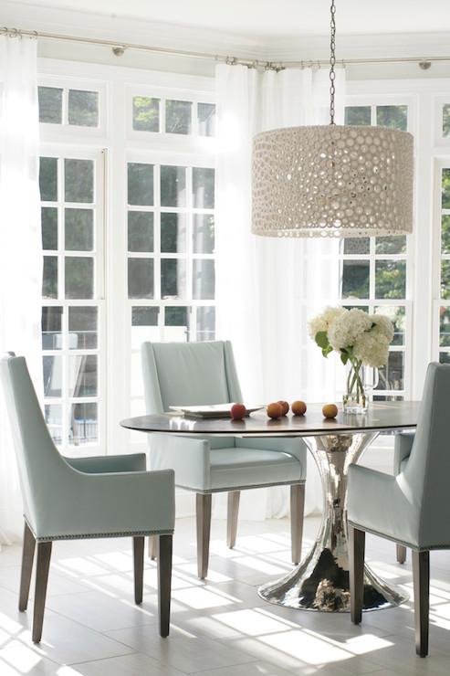 Meri Drum Chandelier  Transitional  dining room  Heather Garrett Design