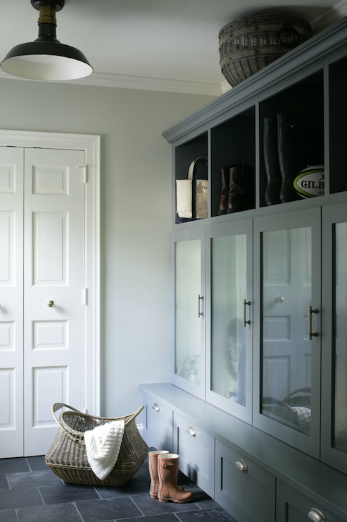 Gray Mudroom Cabinets  Transitional  laundry room