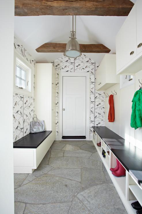Mudroom Wallpaper Transitional Laundry Room Tr