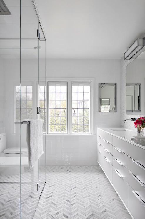 Chevron Floor - Contemporary - bathroom - Clean Design ...