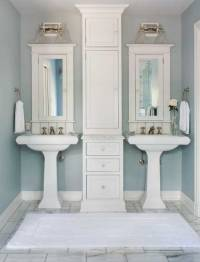 His and Her Pedestal Sinks - Transitional - bathroom ...