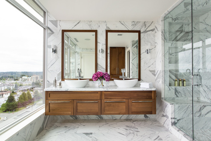 Floating Double Vanity  Contemporary  bathroom  Moeski Design Agency