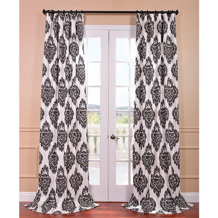 Black Printed Cotton Curtain Panel