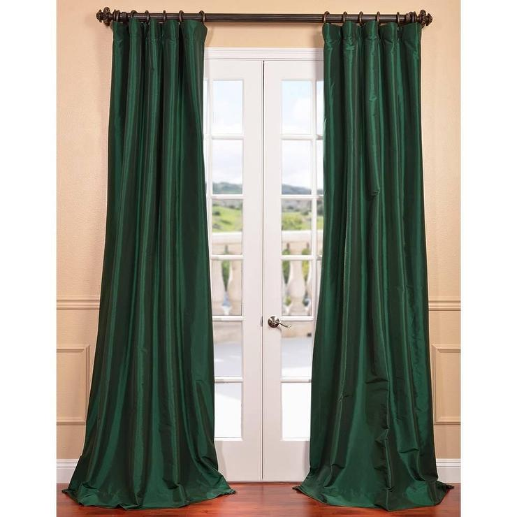 emerald green faux silk taffeta curtain