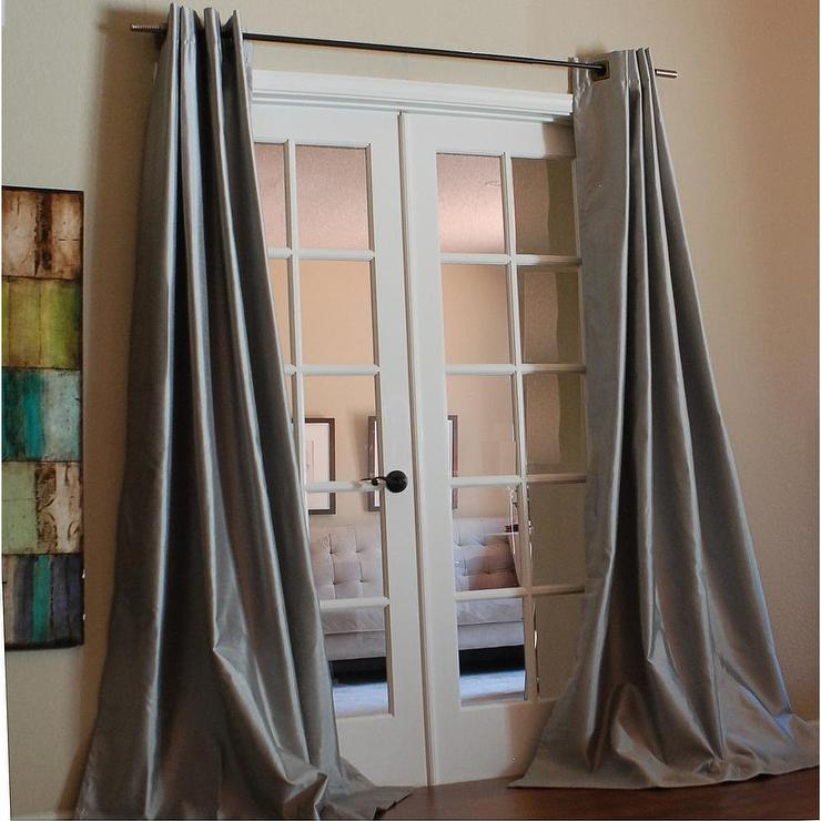 Solid Faux Silk Taffeta Platinum 96 Inch Curtain Panel Overstock Com
