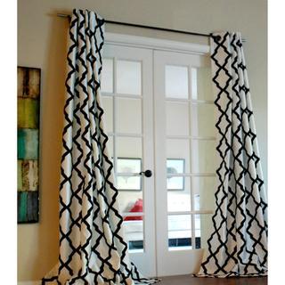 Stripe Black and White Faux Silk Taffeta Curtain Panel