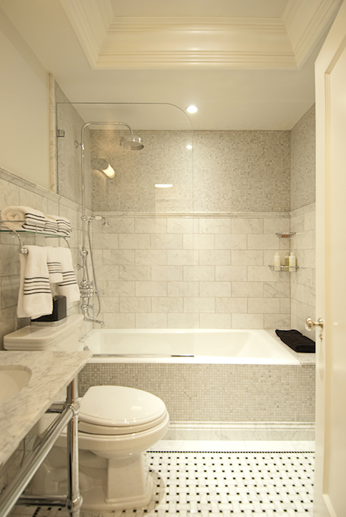 Mixed Shower Tiles  Transitional  bathroom  The