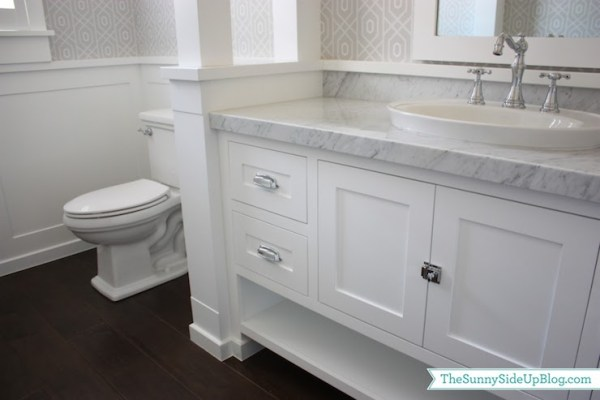 white wainscoting bathroom vanity Powder Room Wainscoting - Transitional - bathroom - Sunny