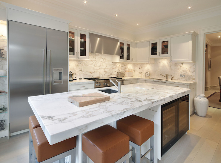 kitchen island with seating for 2 types of faucets arabescato oro vagli marble - contemporary ...