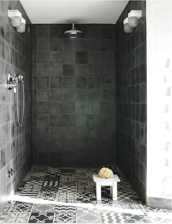 Black and White Mosaic Tiles  Eclectic  bathroom  Elle