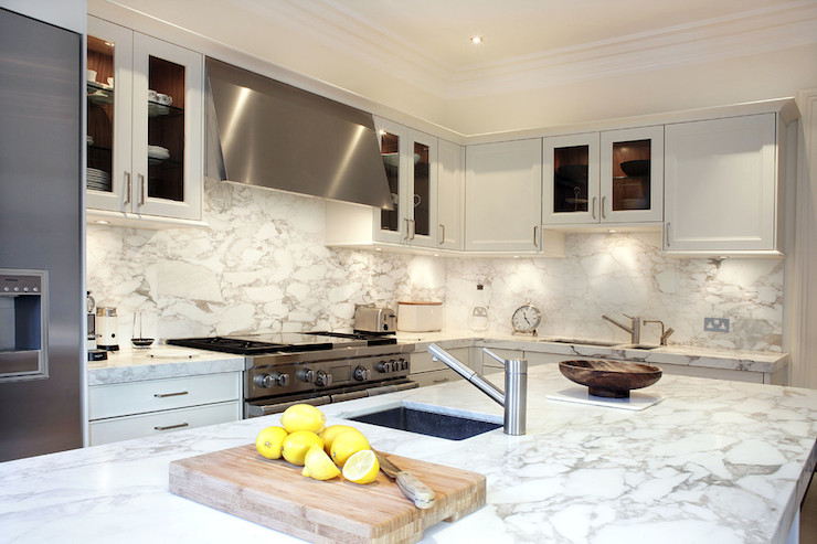 kitchen island with stove ceiling lights ideas arabescato oro vagli marble countertops - contemporary ...