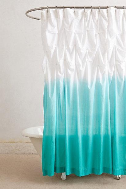 Ocean Blue White Ombre Ruffled Shower Curtain