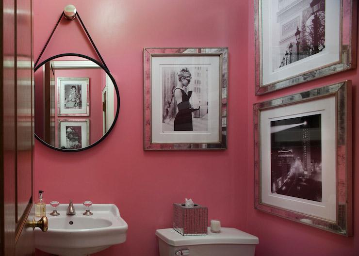 Pink Powder Room  Contemporary  bathroom  Sara Tuttle