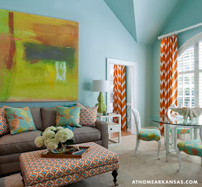 Orange Chevron Curtains Contemporary Living Room At Home In