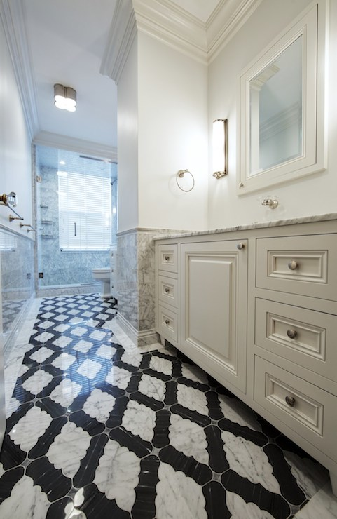 black and white living rooms storage ideas room moorish tile floor - contemporary bathroom the ...