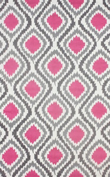Retro Garden Pink and Grey Polyester Area Rug