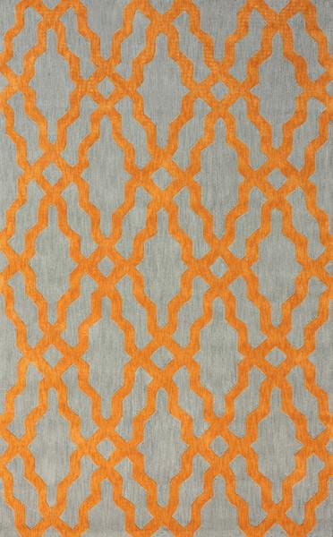 Nicolette Grey and Orange Wool and Cotton Area Rug