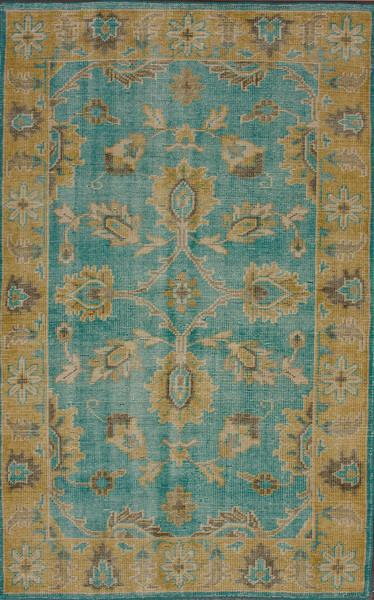 Darius Turquoise and Gold Wool Area Rug