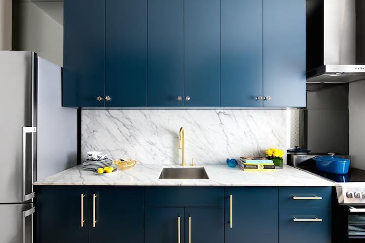 Navy Cabinets Contemporary Kitchen Benjamin Moore Gentleman's