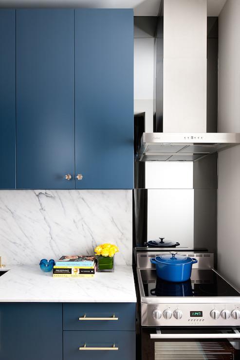 Smoked Gray Mirror Backsplash  Contemporary  kitchen