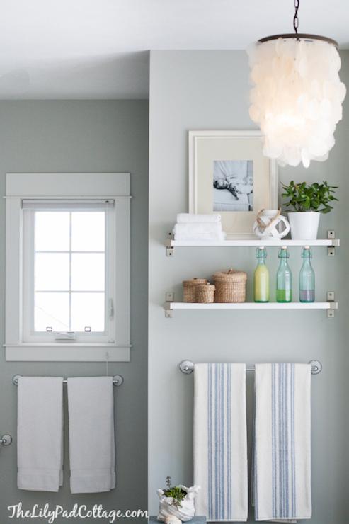 Ikea Shelf  Cottage  bathroom  Benjamin Moore Arctic