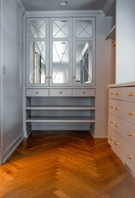 Long Walk In Closet with Geometric Carpet  Transitional  Closet