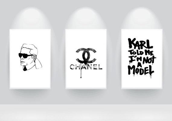 Black and White Chanel and Karl Lagerfeld Prints