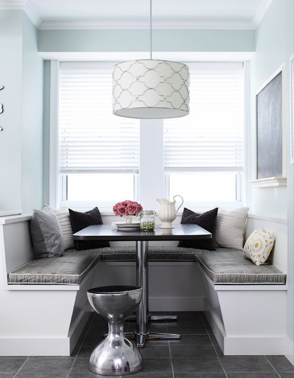l shaped bench kitchen table oak cabinets window seat banquette - contemporary dining room ...