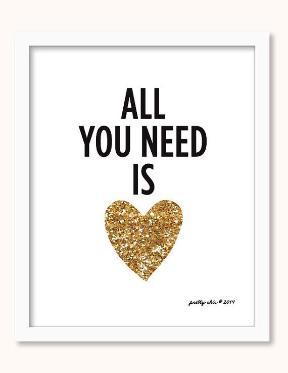 Download All You Need Is Love Gold and Black Print