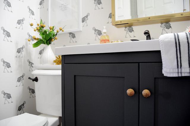 Dark Gray Vanity  Eclectic  bathroom  Farrow and Ball