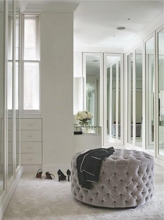 Mirrored Bi Fold Doors Contemporary Closet