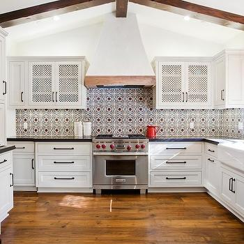white kitchen cabinets glass doors toddlers set spanish style home