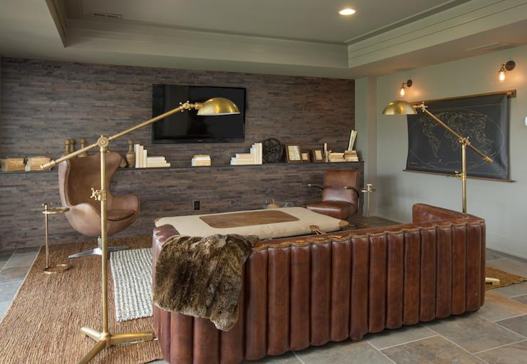 Maxime Leather Sofa  Transitional  media room  RH Homes