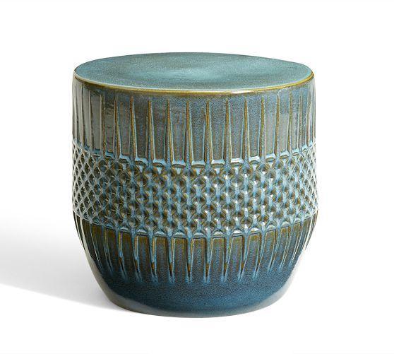 Ceramic Ethnic Blue Accent Table