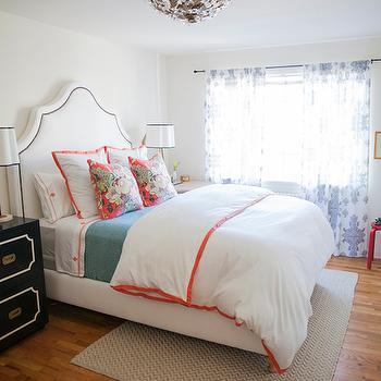 White And Orange Bedding Contemporary Bedroom