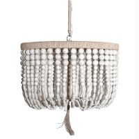 White Wood Bead Chandelier - Look 4 Less and Steals and Deals.