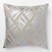 Metallic Silver Diamond Pillow Cover