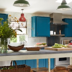 Colorful Kitchen Cabinets Tables Round Peacock Blue - Eclectic Kristen ...