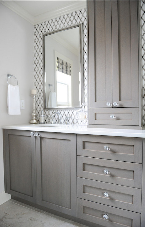 Gray Washed Cabinets  Contemporary  bathroom  Enviable