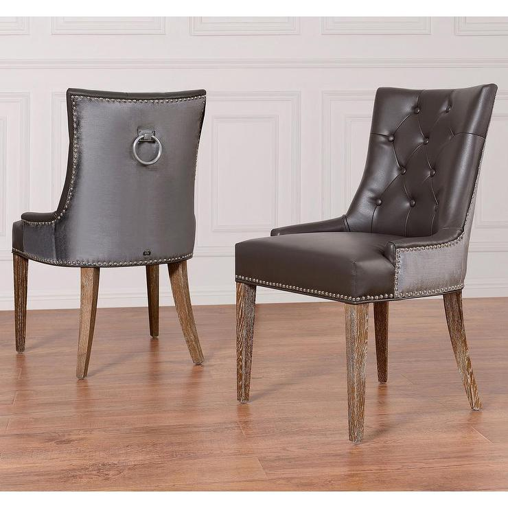 leather tufted dining chair table with green chairs uptown grey velvet