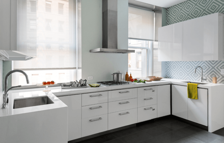 Glossy White Kitchen Cabinets Contemporary Kitchen