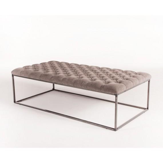 Round Tufted Leather Ottoman Coffee Table