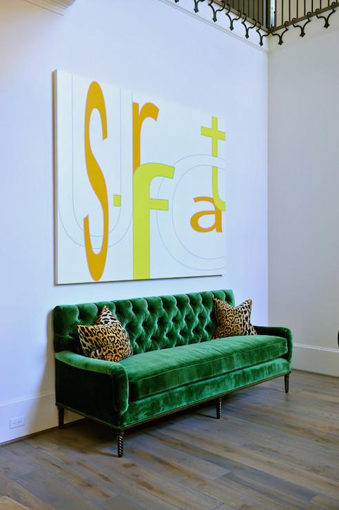 Emerald Green Sofa  Contemporary  entrancefoyer