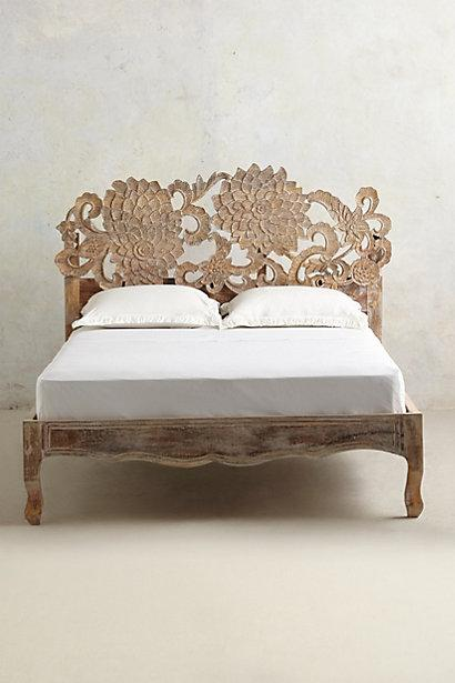 Handcarved Tan Lotus Bed