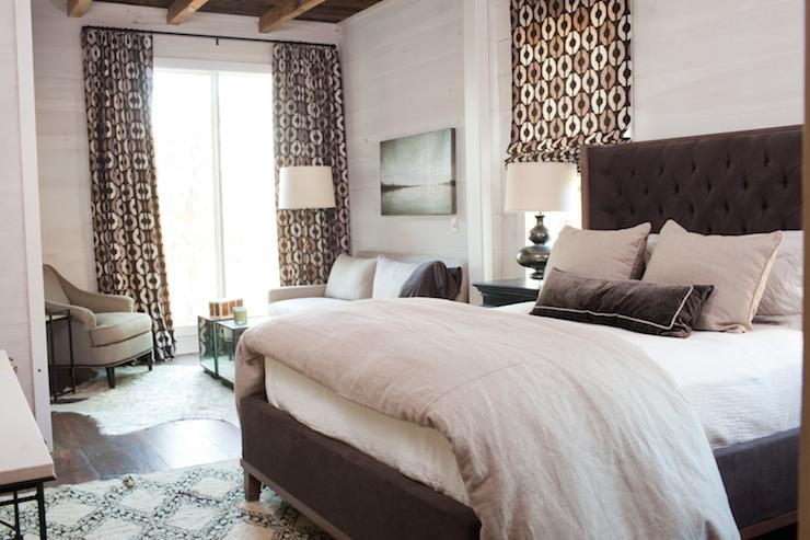 gray linen tufted sofa rent a brown velvet bed - transitional bedroom summer ...