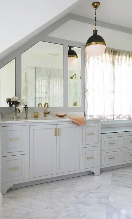 Gray Cabinets Brass Pulls  Transitional  bathroom