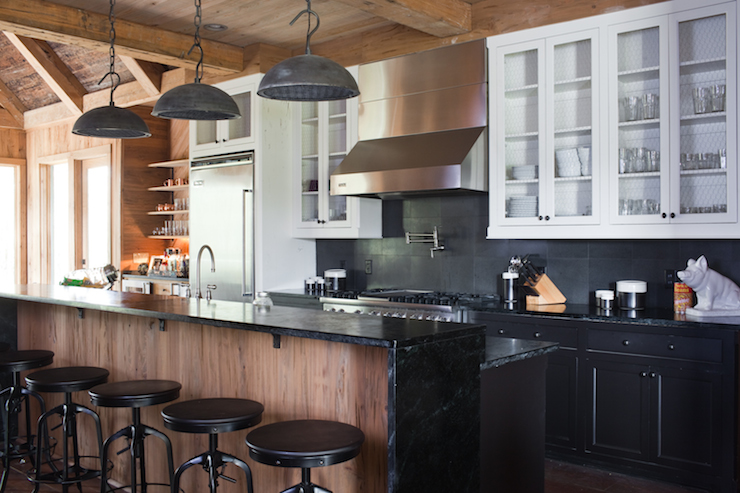 White Upper Cabinets Black Lower Cabinets  Country